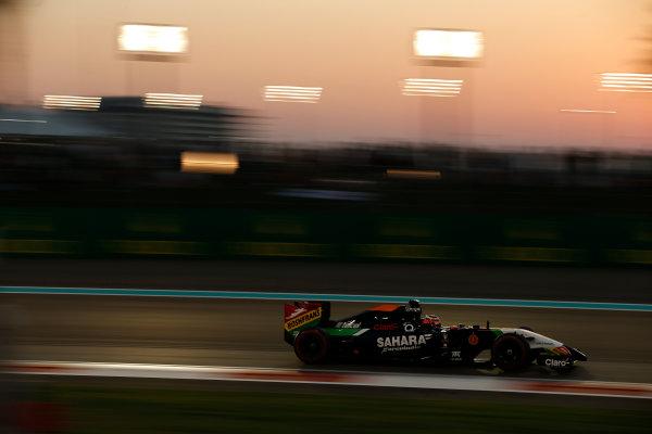 Yas Marina Circuit, Abu Dhabi, United Arab Emirates. Saturday 22 November 2014. Nico Hulkenberg, Force India VJM07 Mercedes. World Copyright: Glenn Dunbar/LAT Photographic. ref: Digital Image _89P6416