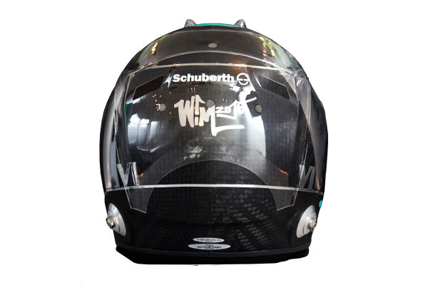 Circuit de Catalunya, Barcelona, Spain. Wednesday 25 February 2015. Helmet of Nico Rosberg, Mercedes AMG.  World Copyright: Mercedes AMG F1 (Copyright Free FOR EDITORIAL USE ONLY) ref: Digital Image 2015_MERCEDES_HELMET_07