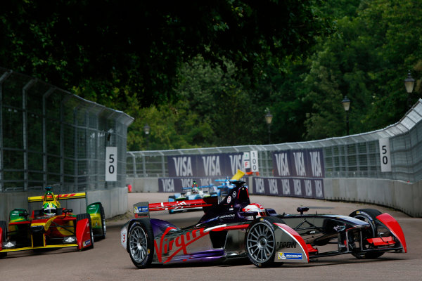 2014/2015 FIA Formula E Championship. London ePrix, Battersea Park, London, United Kingdom. Friday 26 June 2015 Fabio Leimer (SUI)/Virgin Racing - Spark-Renault SRT_01E, on the shakedown. Photo: Zak Mauger/LAT/Formula E ref: Digital Image _L0U7078