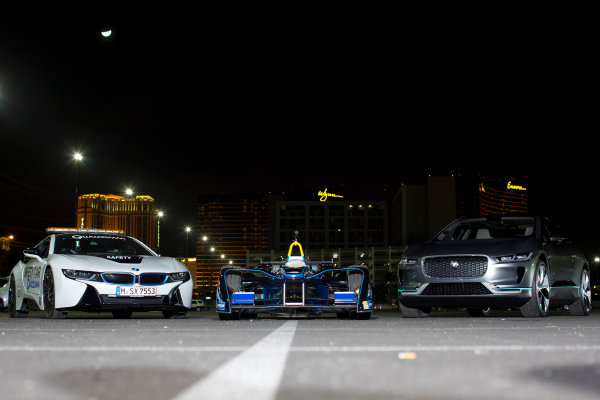 2016/2017 FIA Formula E Championship. Vegas eRace, Las Vegas, Nevada, United States of America. Thursday 5 January 2017. The BMW i8 safety-car, Spark DS Virgin and Jaguar I-Pace   SUV. Photo: Alastair Staley/LAT/Formula E ref: Digital Image 580A1343