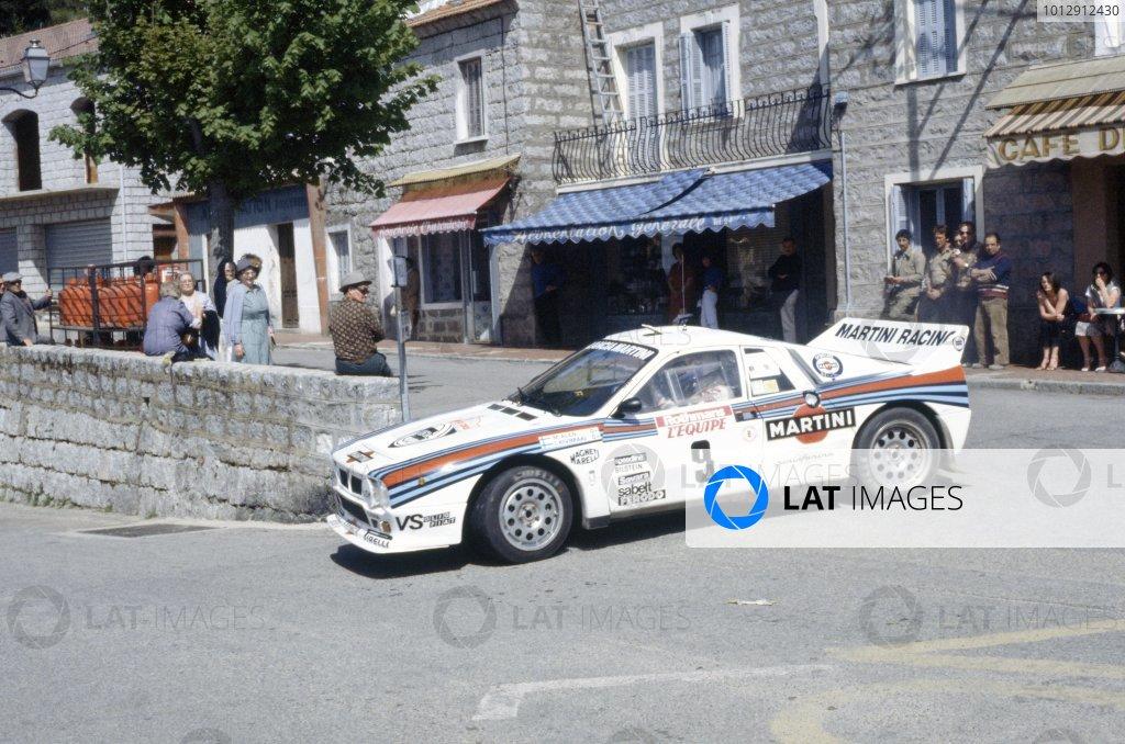 1983 World Rally Championship.Tour de Corse, Corsica, France. 5-7 May 1983.Markku Alen/Ilkka Kivimaki (Lancia Rally 037), 1st position.World Copyright: LAT PhotographicRef: 35mm transparency 83RALLY05