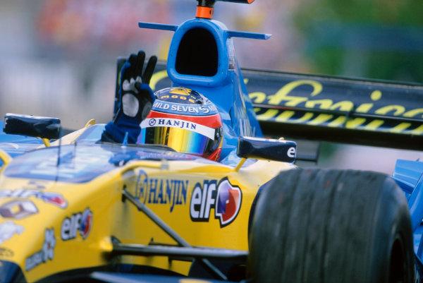 2005 European Grand Prix Nurburgring, Germany. 27th - 29th May. Fernando Alonso, Renault R25 celebrates his victory. World Copyright: LAT Photographicref: 35mm Image: 05Monaco04