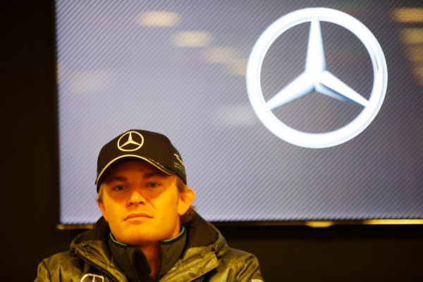 Spa-Francorchamps, Spa, Belgium. Saturday 23 August 2014. Nico Rosberg, Mercedes AMG, at a Mercedes Press Conference. World Copyright: Charles Coates/LAT Photographic. ref: Digital Image _J5R1215