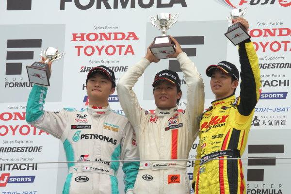 2014 All-Japan F3 Championship. Fuji, Japan. 11th - 13th July 2014. Rd 4. Race 2 - Winner Nobuharu Matsushita ( #7 HFDP RACING ) 2nd position Kenta Yamashita ( #36 PETRONAS TEAM TOM'S ) 3rd position Daiki Sasaki ( #23 B-MAX Racing Team with NDDP ) podium, portrait. World Copyright: Yasushi Ishihara / LAT Photographic. Ref: 2014JF3_Rd8&9_027.JPG