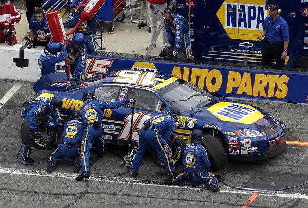 Race winner Michael Waltrip (USA) NAPA Auto Parts Chevrolet makes a pit stop.NASCAR Winston Cup, Rd1, Daytona 500, Daytona, Florida, USA, 16 February 2003.DIGITAL IMAGE
