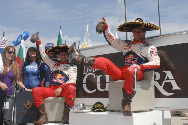 Sebastien Loeb (FRA), Citroen, wins for the 4th time in Mexico, and collects the boots and tequila as part of his prize.FIA World Rally Championship, Rd2, Corona Rally Mexico, Leon, Guanajuato, Mexico, Day Three, Sunday 7 March 2010.