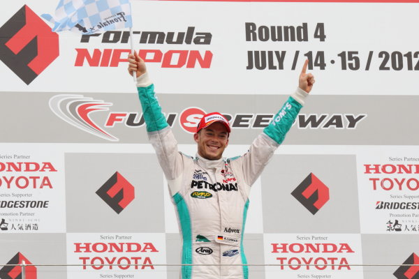 Fuji Speedway, Japan. 15th July 2012.Winner Andre Lotterer ( #1 PETRONAS TEAM TOM'S , 1st position. Podium.World Copyright: Yasushi Ishihara/LAT Photographicref: Digital Image 2012FN_Rd4_007