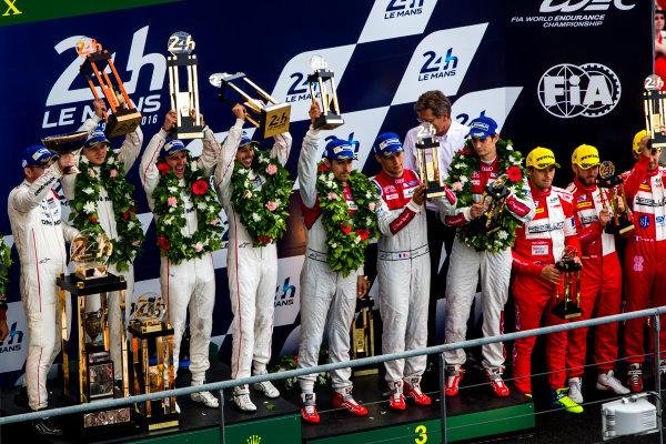 2016 Le Mans 24 Hours. Circuit de la Sarthe, Le Mans, France. Sunday 19 June 2016. Porsche Team / Porsche 919 Hybrid - Romain Dumas (FRA), Neel Jani (CHE), Marc Lieb (DEU), Toyota Gazoo Racing / Toyota TS050 - Hybrid - Stephane Sarrazin (FRA), Michael Conway (GBR), Kamui Kobayashi (JPN), Audi Sport Team Joest / Audi R18 - Lucas Di Grassi (BRA), Loic Duval (FRA), Oliver Jarvis (GBR), Rebellion Racing / Rebellion R-One-AER - Nicolas Prost (FRA), Nick Heidfeld (DEU), Nelson Piquet (NLD).  World Copyright: Zak Mauger/LAT Photographic ref: Digital Image _79P9213