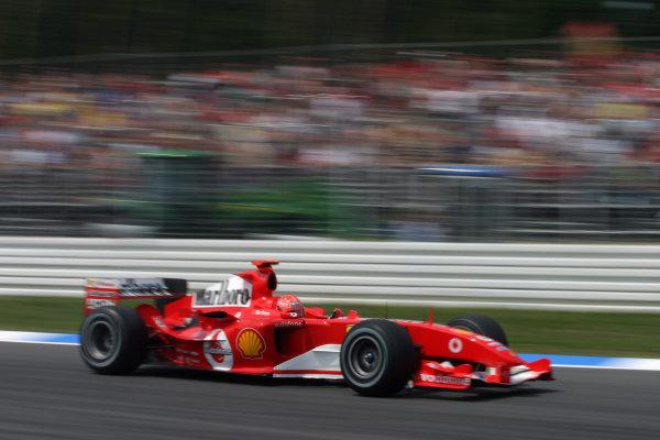 2004 German Grand Prix - Friday Practice, Hockenheim, Germany. 23rd July 2004 Michael Schumacher, Ferrari F2004, action.World Copyright: Steve Etherington/LAT Photographic ref: Digital Image Only