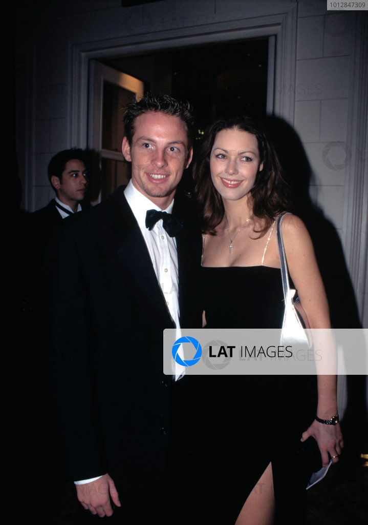 Grosvenor House Hotel, Park Lane, London. 3 December 2000.  Jenson Button and girlfriend Louise Griffiths. World Copyright: Dixon/LAT Photographic Ref: 35mm Transparency Image