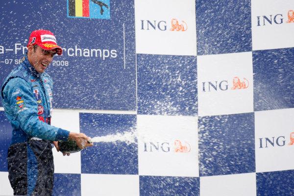 Spa Francorchamps, Spa, Belgium. 7th September.Sunday Race.Pastor Maldonado (VEN, Piquet Sports) celebrates his victory on the podium.World Copyright: Glenn Dunbar/GP2 Series Media Service. ref: Digital Image _O9T3196