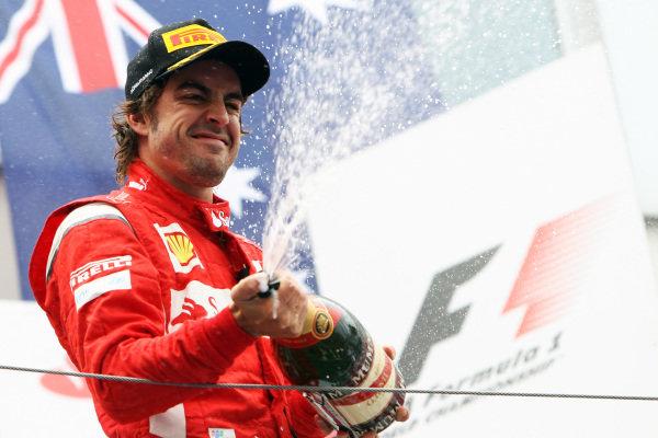 Fernando Alonso (ESP) Ferrari celebrates his second position on the podium. Formula One World Championship, Rd 10, German Grand Prix, Race, Nurburgring, Germany, Sunday 24 July 2011.  BEST IMAGE