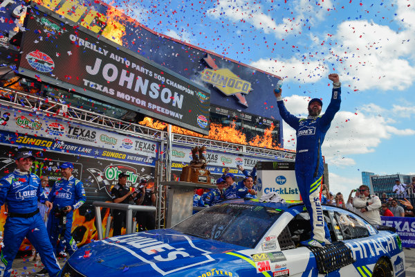 2017 Monster Energy NASCAR Cup Series O'Reilly Auto Parts 500 Texas Motor Speedway, Fort Worth, TX USA Sunday 9 April 2017 Jimmie Johnson celebrates in Sunoco Victory Lane World Copyright: Logan Whitton/LAT Images ref: Digital Image 17TEX1LW3661