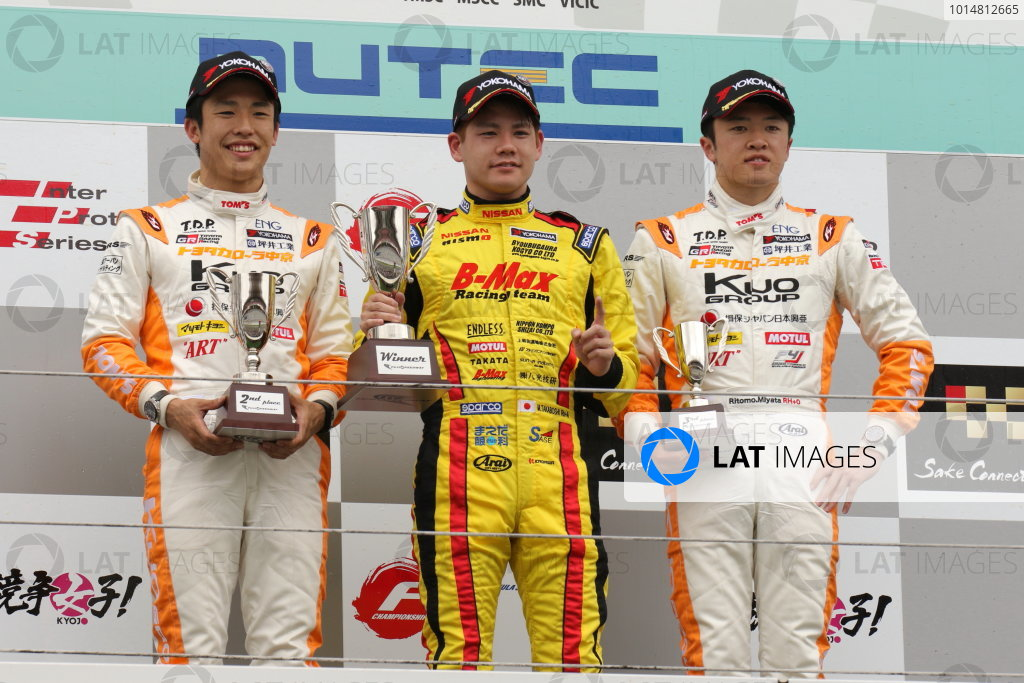 2017 Japanese Formula 3 Championship. Fuji, Japan. 13th - 14th May 2017. Rd 6 & 7. Rd 7 Winner Mitsunori Takaboshi ( #23 B-MAX NDDP F3 ) 2nd position Sho Tsuboi ( #1 Corolla Chukyo Kuo TOM?S F317 ) 3rd position Ritomo Miyata ( Corolla Chukyo Kuo TOM?S F314 ) podium ,portrait World Copyright: Yasushi Ishihara / LAT Images. Ref: 2017JF3_Rd6&7_10