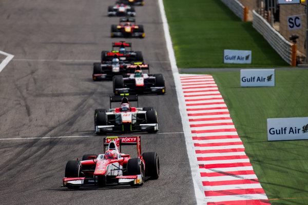 2017 FIA Formula 2 Round 1. Bahrain International Circuit, Sakhir, Bahrain.  Sunday 16 April 2017. Antonio Fuoco (ITA, PREMA Racing), Stefano Coletti (MON, Campos Racing)  Photo: Zak Mauger/FIA Formula 2. ref: Digital Image _X0W4834