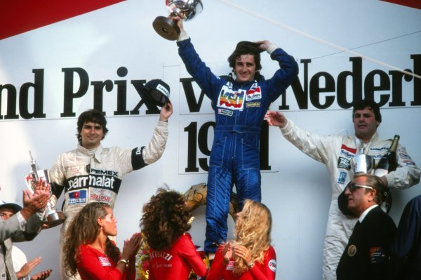 Podium and results:1st Alain Prost (FRA), Renault, centre.2nd Nelson Piquet (BRA), Brabham, left.3rd Alan Jones (AUS), Williams, right.Dutch Grand Prix, Rd12, Zandvoort, The Netherlands, 30 August 1981.BEST IMAGE