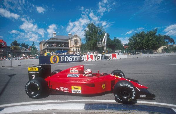 1990 Australian Grand Prix.Adelaide, Australia.2-4 November 1990.Nigel Mansell (Ferrari 641) 2nd position Ref-90 AUS 14.World Copyright - LAT Photographic