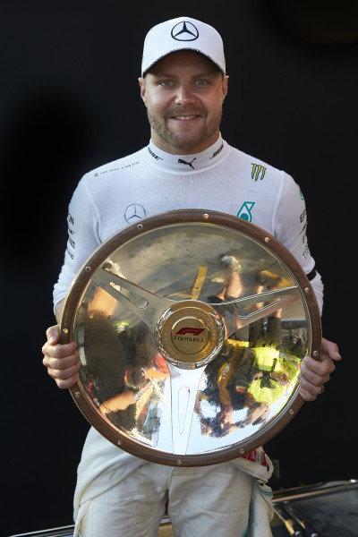 Valtteri Bottas, Mercedes AMG F1, 1st position, with his trophy