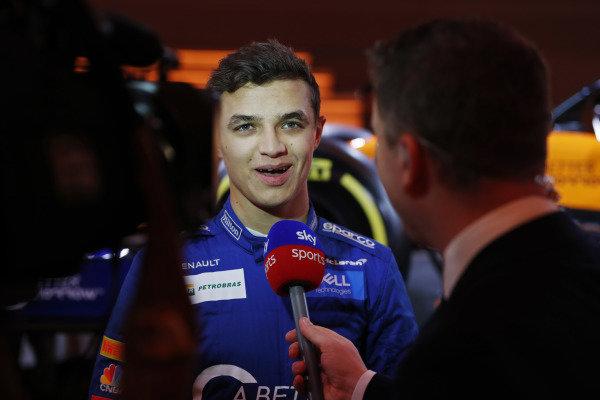 Lando Norris, McLaren is interviewed