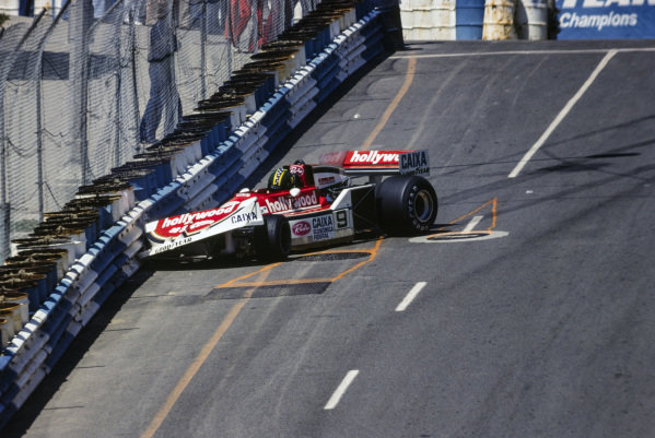 Alex Ribeiro, March 761B Ford crashes into the barrier.