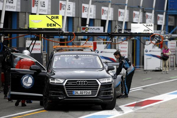 Jake Dennis, R-Motorsport, Aston Martin Vantage AMR gets back to pitlane.