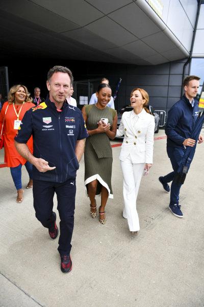 Christian Horner, Team Principal, Red Bull Racing, Melanie C and Geri Horner