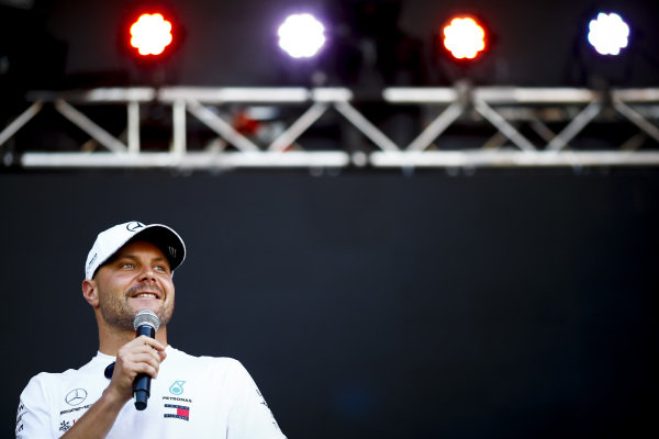 Valtteri Bottas, Mercedes AMG F1 on stage in the fan zone