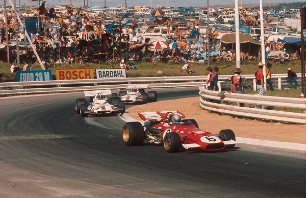 1971 South African Grand Prix.Kyalami, South Africa.4-6 March 1971.Mario Andretti (Ferrari 312B) 1st position for his maiden Grand Prix win, followed by Pedro Rodriguez (BRM P160) and Jo Siffert (BRM P153).Ref-71 SA 17.World Copyright - LAT Photographic