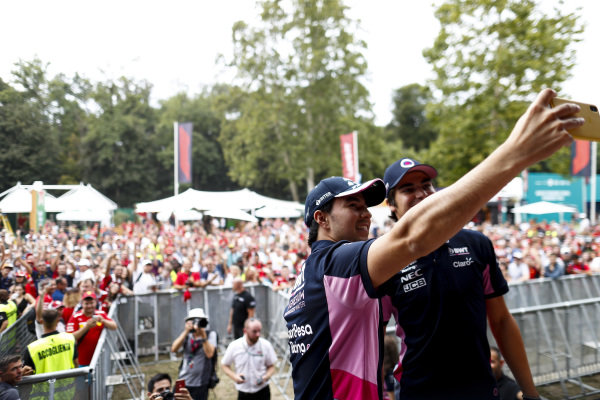 Sergio Perez, Racing Point and Lance Stroll, Racing Point take a selfie on stage in the fan zone