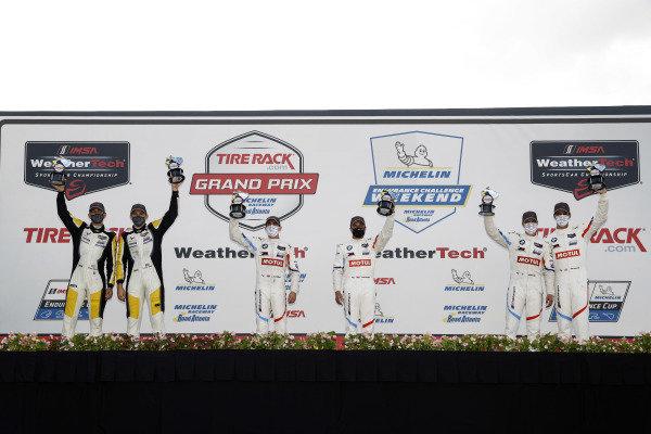 #4 Corvette Racing Corvette C8.R, GTLM: Oliver Gavin, Tommy Milner, #25 BMW Team RLL BMW M8 GTE, GTLM: Connor De Phillippi, Bruno Spengler, #24 BMW Team RLL BMW M8 GTE, GTLM: John Edwards, Jesse Krohn, podium