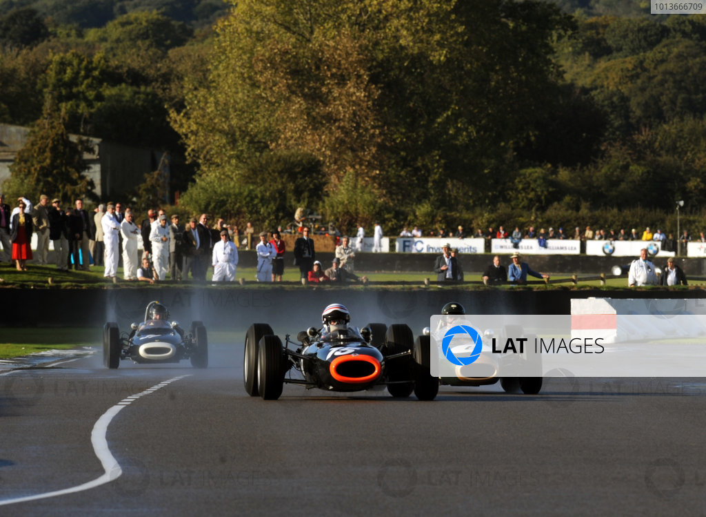 Goodwood Estate, West Sussex, 15th - 18th September 2011 Glover Trophy Mike LUCK, BRM P261, leads James KING, Brabham Climax BT7. World Copyright:Jeff Bloxham/LAT Photographic Ref: Digital Image
