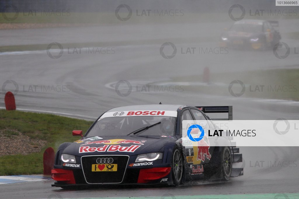 Mattias Ekstrom (SWE), Audi Sport Team Abt Sportsline, Red Bull Audi A4 DTM (2009) ahead of Miguel Molina (ESP), Audi Sport Team Abt Junior, Red Bull Audi A4 DTM (2008).