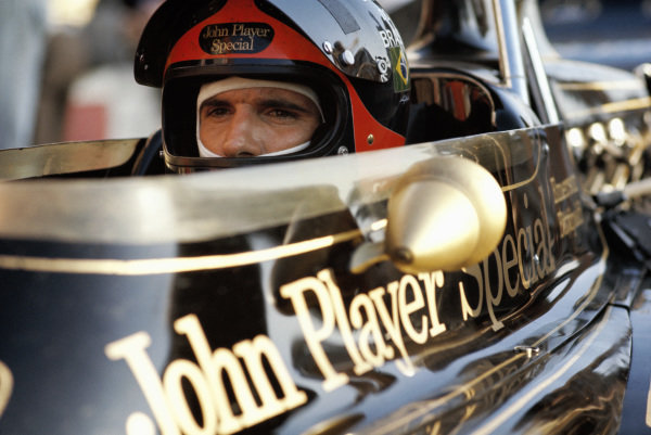 Emerson Fittipaldi sat in his Lotus 72D Ford.