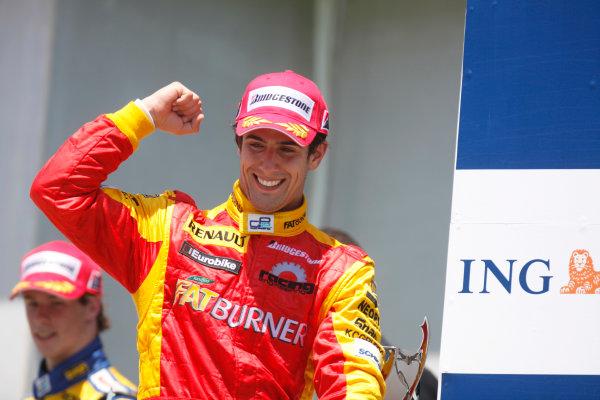 Sunday Race. 7th June 2009. Lucas Di Grassi (BRA, Fat Burner Racing Engineering) celebrates his victory on the podium. World Copyright: Glenn Dunbar/ GP2 Series Media Service.Ref: _MG_0104 jpg