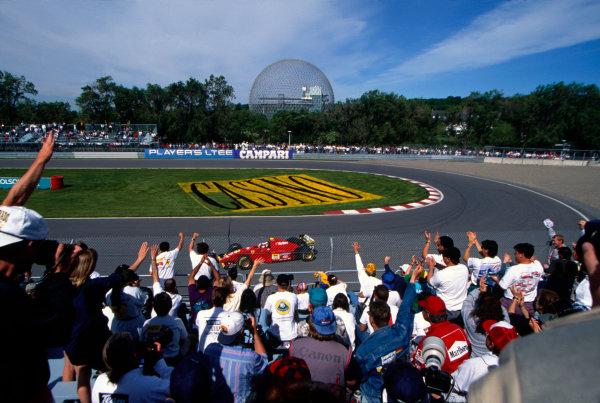 Montreal, Quebec, Canada.9 - 11 June 1995.Jean Alesi (Ferrari 412T2) 1st position for his maiden Grand Prix win.World Copyright - LAT Photographic