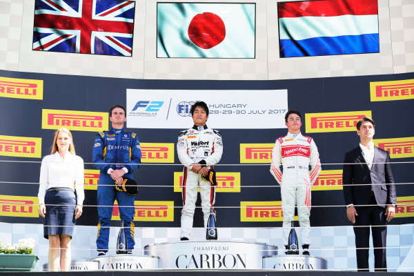 Hungaroring, Budapest, Hungary. Sunday 30 July 2017 Nobuharu Matsushita (JPN, ART Grand Prix). Oliver Rowland (GBR, DAMS). and Nyck De Vries (NED, Rapax).  Photo: Mauger/FIA Formula 2 ref: Digital Image _54I4914