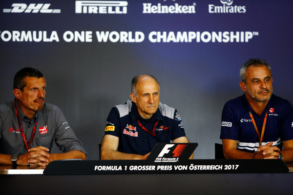 Red Bull Ring, Spielberg, Austria. Friday 07 July 2017. The Friday press conference. L-R: Guenther Steiner, Team Principal, Haas F1, Franz Tost, Team Principal, Toro Rosso, and Beat Zehndner of Sauber. World Copyright: Andy Hone/LAT Images ref: Digital Image _ONY0081