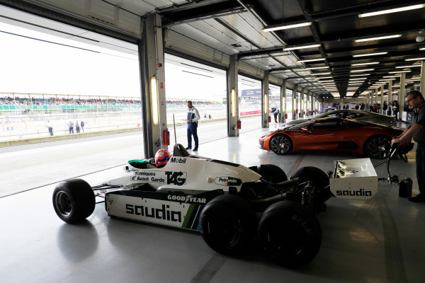 Williams 40 Event Silverstone, Northants, UK Friday 2 June 2017. Martin Brundle in a six-wheeled Williams FW08, pulls put of the pits next to a James Bond Jaguar CX75. World Copyright: Zak Mauger/LAT Images ref: Digital Image _56I9644