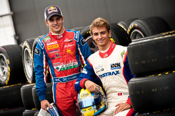 Round 5. Nurburgring, Germany. 21st July 2011.Thursday Preview. Nico Muller, (SUI, Jenzer Motorsport) and Lewis Williamson, (GBR, MW Arden), winners of races 7 and 8 at round 4 in Silverstone. Portrait. Photo: Drew Gibson/GP3 Media Service.  ref: Digital Image _Y2Z3758