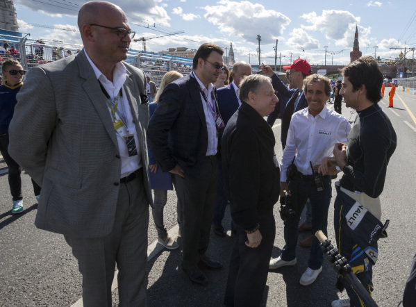 Nicolas Prost (FRA) - Team e-dams Renault , Alain Prost (FRA) Co founder eDams Renault and Jean Todt - FIA president at Formula E Championship, Rd9, Moscow, Russia, 4-6 June 2015.