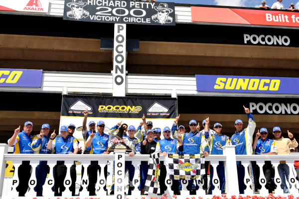 2-3 August, 2013, Long Pond, Pennsylvania USA Ryan Blaney celebrates his win in Victory Lane ©2013, Nigel Kinrade LAT Photo USA
