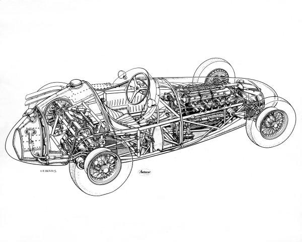 1957 Maserati 250F. Cutaway drawing. World Copyright: LAT Photographic.  Ref:  B/W Print.