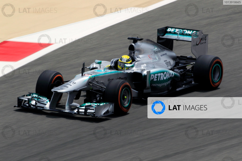 Bahrain International Circuit, Sakhir, Bahrain Friday 19th April 2013 Nico Rosberg, Mercedes W04.  World Copyright: Charles Coates/LAT Photographic ref: Digital Image _X5J2406