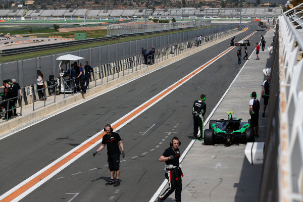 2015 GP3 Series Test 2 - Circuit Ricardo Tormo, Valencia, Spain. Friday 10 April 2015. Cars return to the pit lane Photo: Sam Bloxham/GP3 Series Media Service. ref: Digital Image _SBL5252