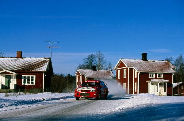 Swedish Rally, Sweden. 12-14 February 1999.Tommi Makinen/Risto Mannisenmaki (Mitsubishi Lancer Evo6), 1st position.World Copyright: LAT PhotographicRef: 35mm transparency.