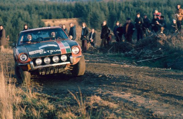 RAC Rally, Great Britain. 17th - 21st November 1973.Harry Kallstrom/Claes Billstam (Datsun 240Z), 14th position, action.World Copyright: LAT PhotographicRef: Colour Transparency.