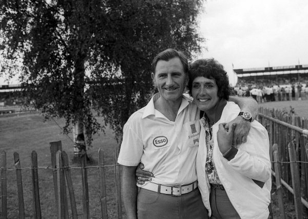 (L to R): Graham Hill (GBR) Embassy Hill Racing Team Owner with wife Bette Hill (GBR). Graham officially announced his retirement as an F1 driver at the British GP. British Grand Prix, Rd 9, Silverstone, England, 19 July 1975.