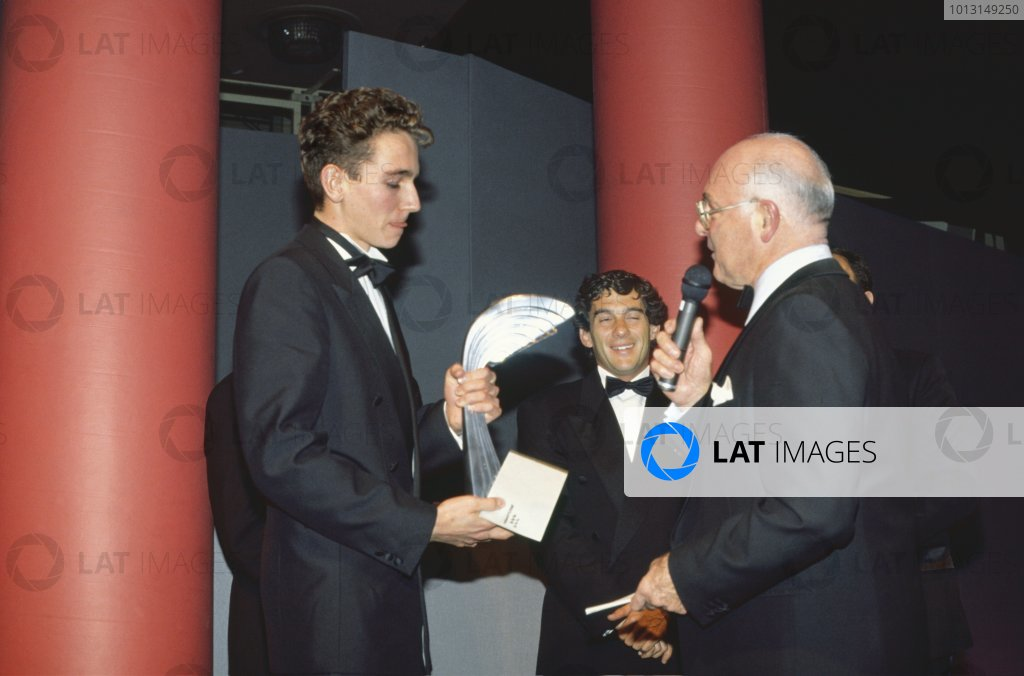 1991 Autosport Awards. Grosvenor House Hotel, Park Lane, London. Ayrton Senna presents Oliver Gavin with the Autosport Young  Driver of the Year Award as Murray Walker interviews him. World - LAT Photographic.