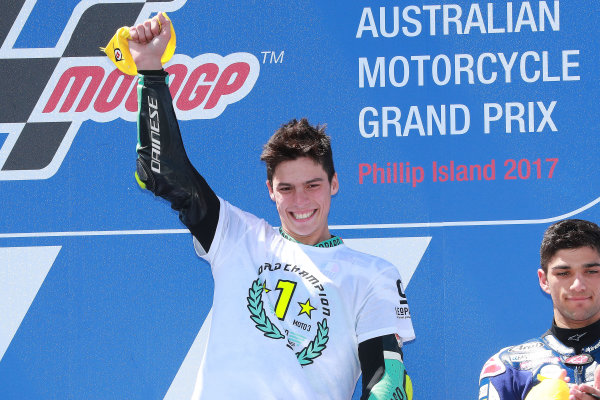 2017 Moto3 Championship - Round 16 Phillip Island, Australia. Sunday 22 October 2017 Podium: race winner Joan Mir, Leopard Racing World Copyright: Gold and Goose / LAT Images ref: Digital Image 24363