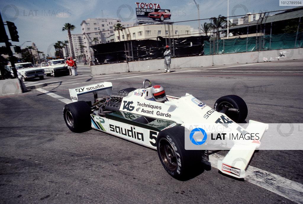 1982 United States Grand Prix West.Long Beach, California, USA.2-4 April 1982.Mario Andretti (Williams FW07C Ford).Ref-82 LB 35.World Copyright - LAT Photographic